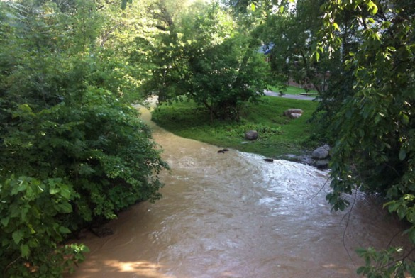 The river was muddy and overflowing after storms the night before