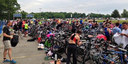 The transition area was pretty full!