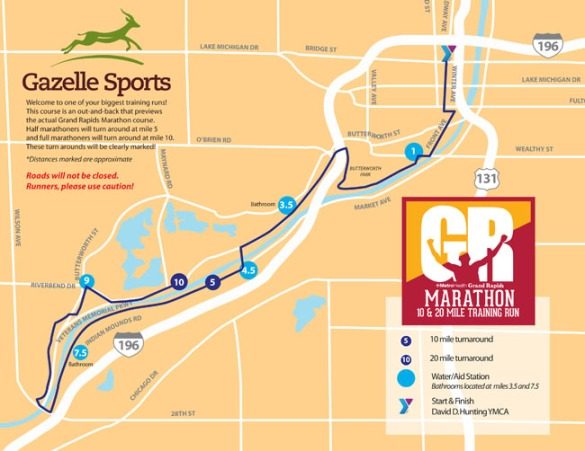 Map of the Grand Rapids Marathon training run