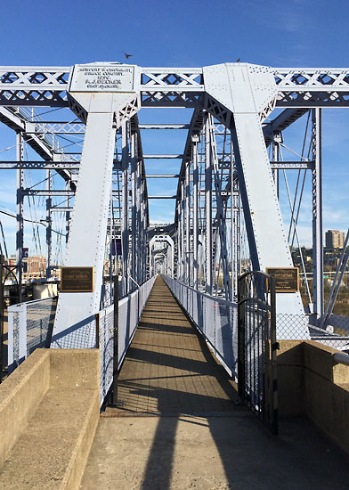 My 1st attempt at a run kind of failed, but at least the scenery was nice! The Purple People Bridge between Cincinnati, OH and Newport, KY.