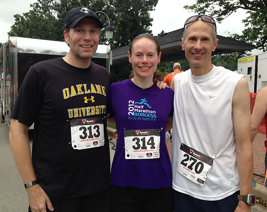 A post-race photo of Matt, me, and Tom.