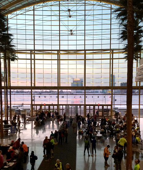 A beautiful view from inside the RenCen's Wintergarden area.