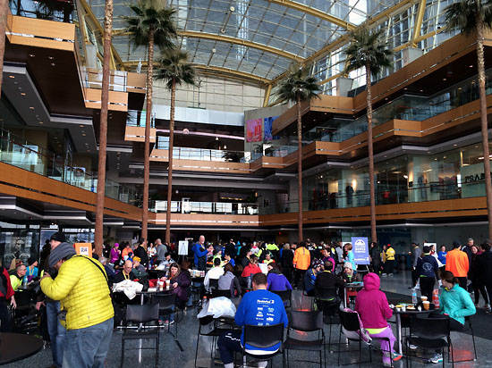 Runners gathered in the Wintergarden after the race.