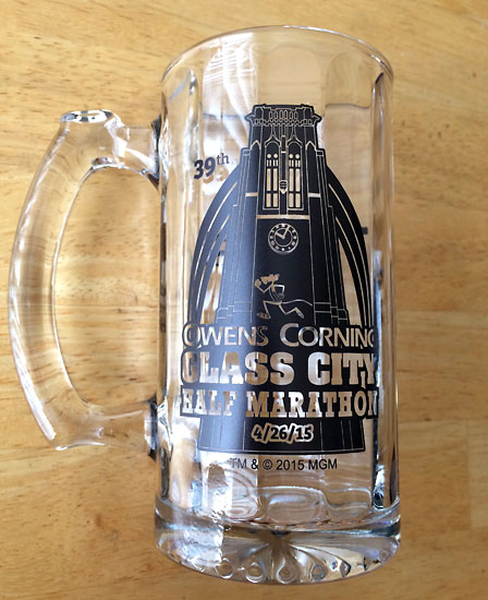 "A glass mug to go along with ""glass city."""