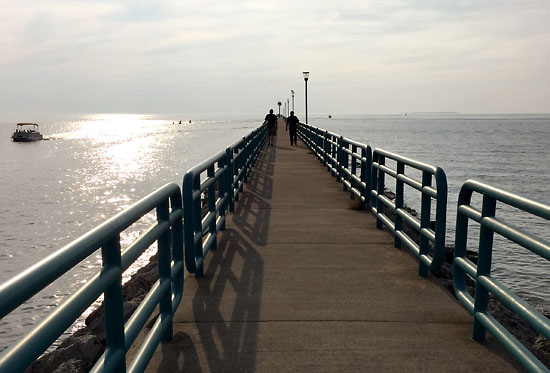 A beautiful evening for a walk on the pier.