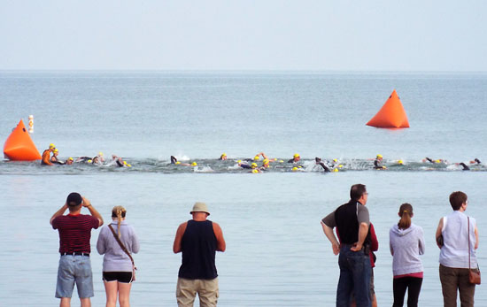 The start of the Olympic swim.