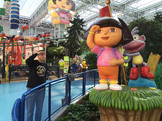 Matt with Dora the Explorer at Nickelodeon Universe - the theme park in the middle of the mall.