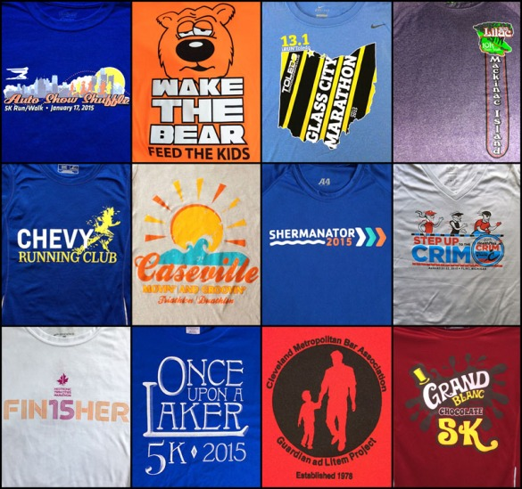 A collection of t-shirts from this year's races.
