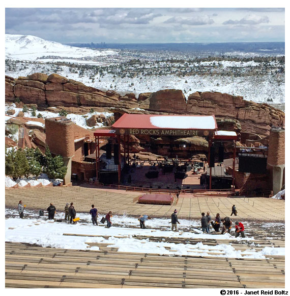 Working hard to clear all of the snow from the seating at Red Rocks Amphitheatre