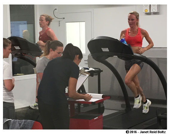 Olympic marathoners Amy Cragg and Shalane Flanagan at the Olympic Training Center in Colorado Springs