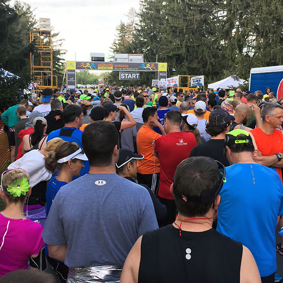 The half and full marathoners started together