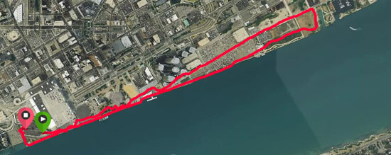 A scenic route that went past Cobo and the RenCen on the way out, and came back along the RiverWalk