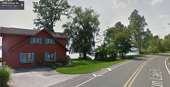 I enjoyed looking at the houses along the lake on Gun Lake Road (photo from Google Maps)