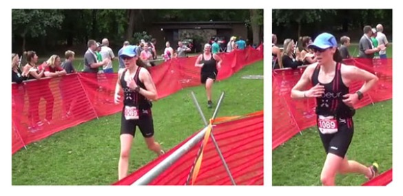 Stills from video shot at the finish line