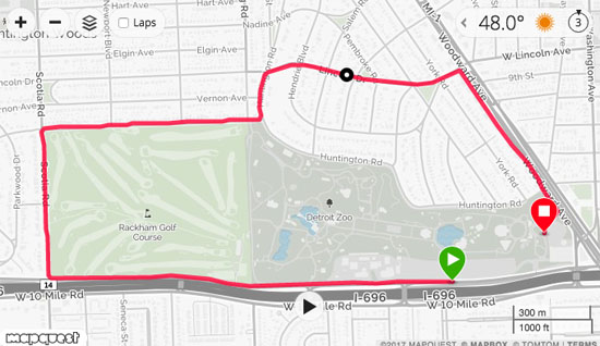 2017-09-10 detroit zoo 5k route