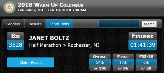 20180218 - warm up columbus results